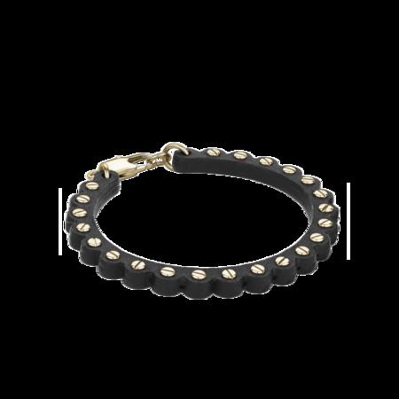 Italgem Moto Leather Bracelet - Black/Gold