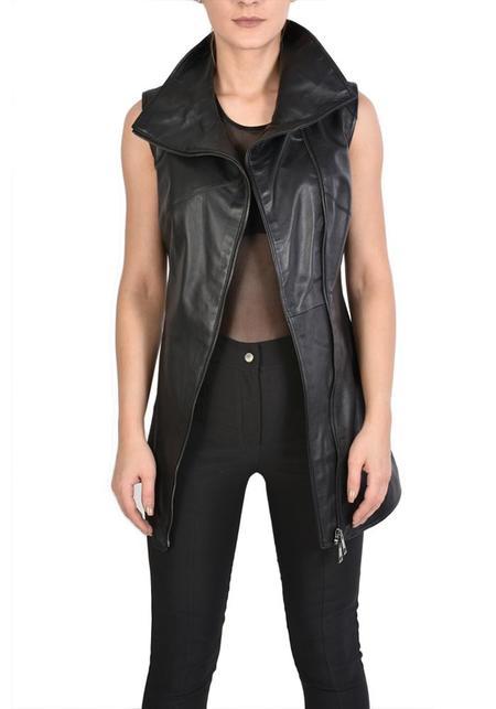 Unisex La Haine Asymmetric High Neck Zip Front Leather Vusa Vest