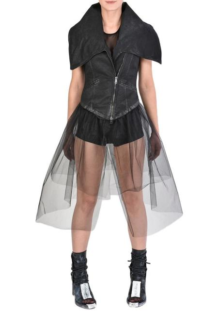 La Haine High Funnel Neck Laminated Cotton Vest with Removable Tulle Underskirt