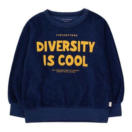 kids tinycottons diversity is cool sweatshirt - deep blue/bamboo yellow