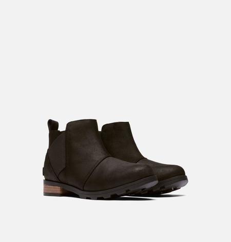 Sorel Women's Emelie Mid Waterproof Leather Chelsea Rain Ankle Boot - Black/Black