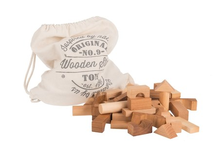 WOODEN STORY Natural Blocks, 100 Pieces in Canvas Bag - COUCOU BOSTON
