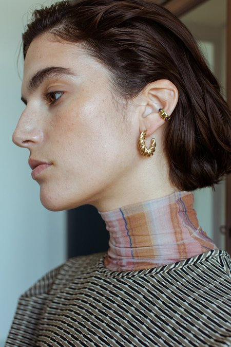 Leigh Miller Large Twisted Hoops - Gold-Plated