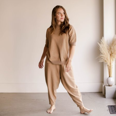 Mónica Cordera Cotton Knit Pants - Camel