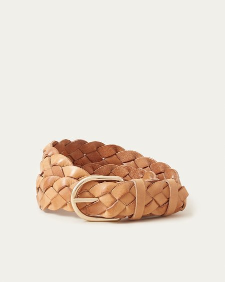Loeffler Randall Carson Braided Leather Belt - Timber Brown