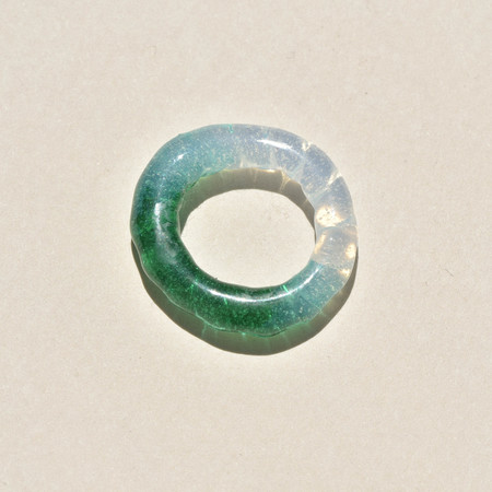 Leigh Miller Seconds Quality Glass Rope Ring - Emerald/Opal