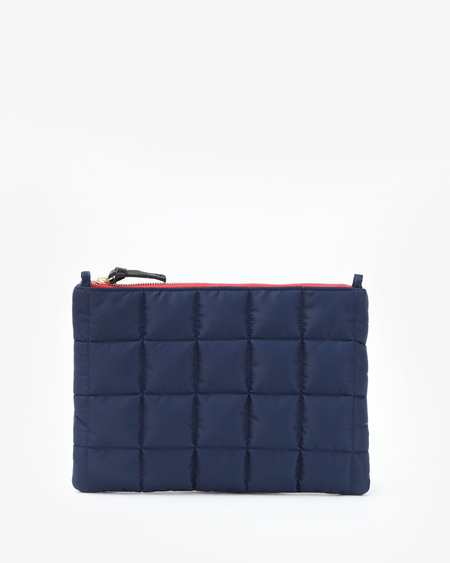 Pied Nu Flat Clutch with Tabs Quilted Puffer - Navy