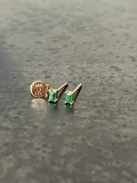 EF Collection Emerald Baguette Stud Earring - 14k Yellow Gold