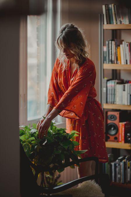 Onderbroeks Classic Robe - Oranje Bloem