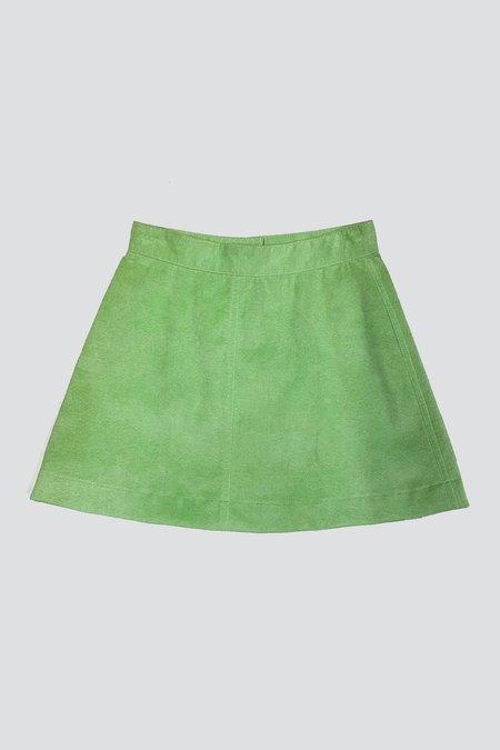 Vintage Ultrasuede Mini Zip Skirt - Mint