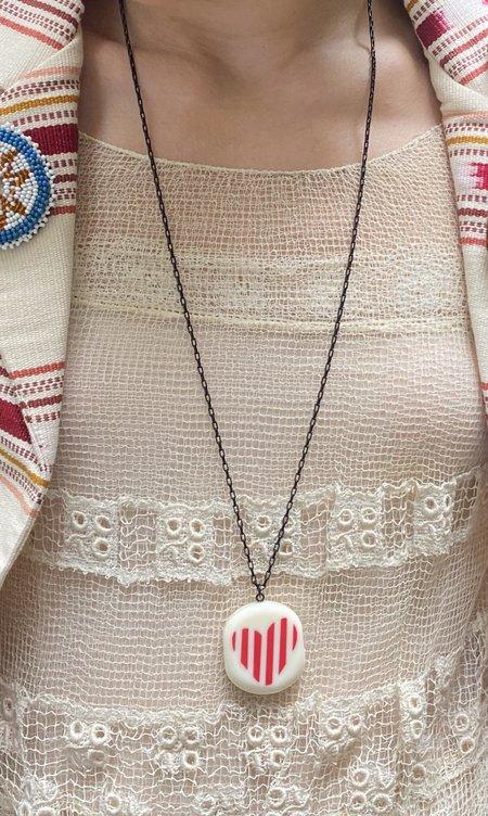 Vintage Sonia Rykiel Acrylic Heart Necklace