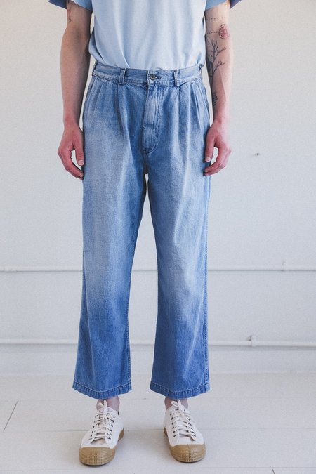 Orslow TWO TUCK DENIM TROUSER - TWO YEAR WASH