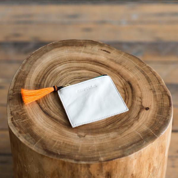 Kempton & Co Tiny Tassel Pouch White