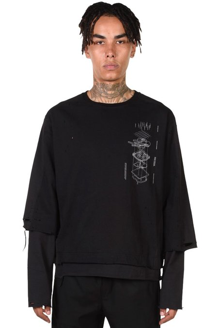 C2H4 Distressed Double Layer T-shirt - black