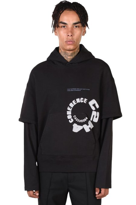 C2H4 Double Layer Hoodie sweater - black