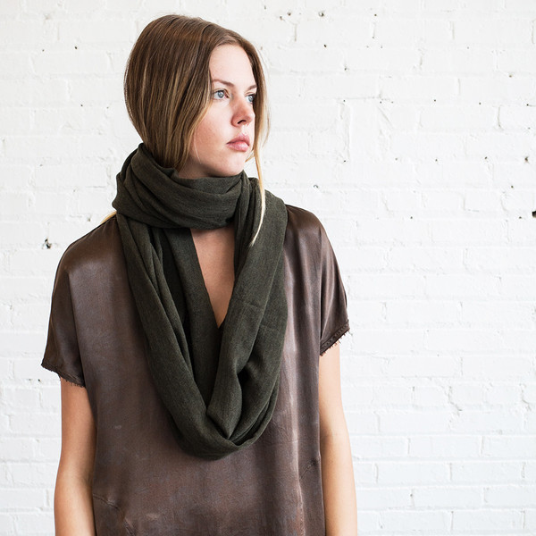 Schai Infinity Feather Cashmere Scarf Military Green