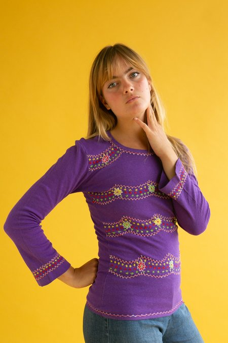 Vintage 1970s Embroidered Top