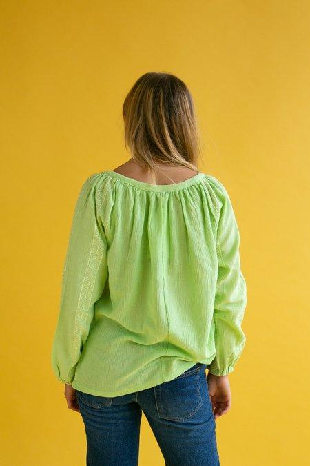 Vintage 1990s Folk Blouse - Lime Green