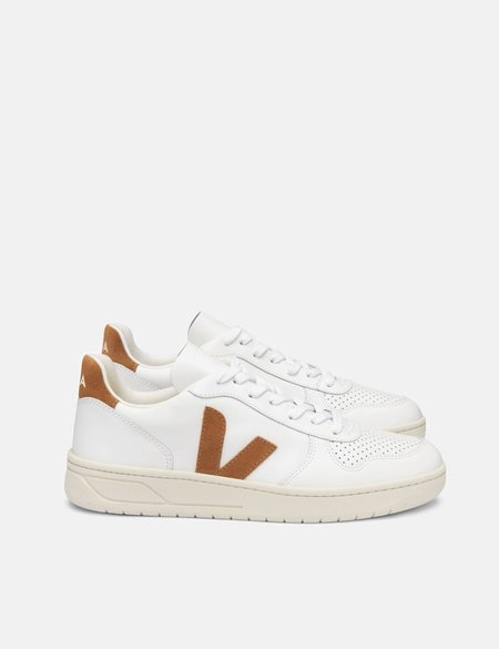 Veja V-10 Leather Trainers Shoes - Extra White/Camel