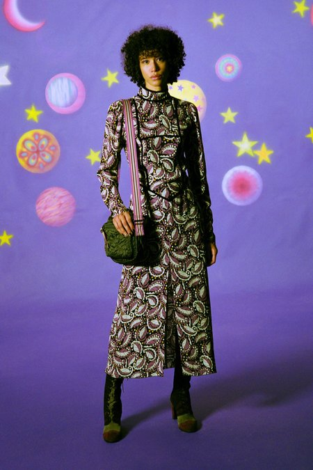 Anna Sui Swirling Leaves Dress - Black Multi