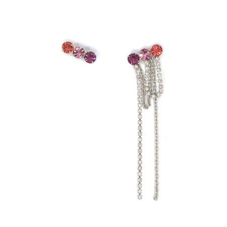 Joomi Lim Asymmetrical 3 Crystal Earrings W/ Crystal & Chain Fringe