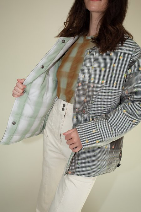 No.6 Reversible Glenn Quilted Jacket - Patchwork Gingham/Grass Blurry Plaid