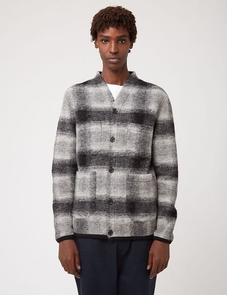 Universal Works Checked Wool Fleece Cardigan - Gray