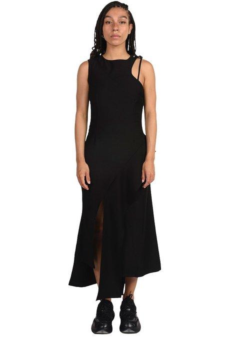 C2H4 Arc Layered Asymmetric Strap Midi Dress - black