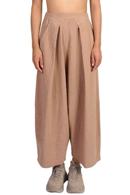 Mónica Cordera Cork Pleat Front Ramie Pants - brown