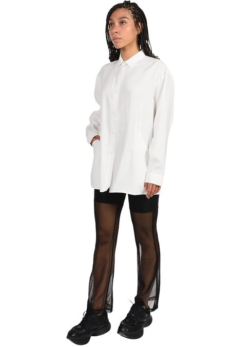C2H4 Layered Hollowed-Out Tailored Shirt - WHITE