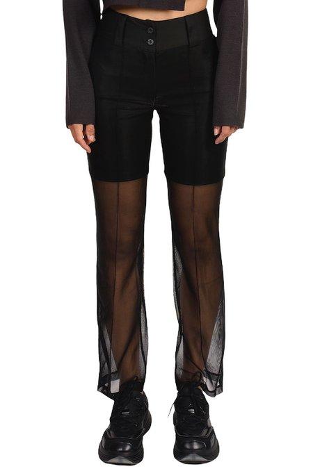 C2H4 Metallic Liquid Netting Layered Trousers - BLACK