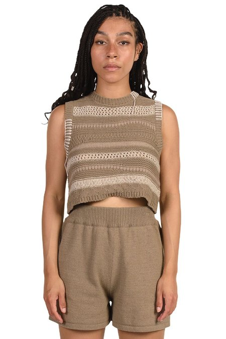 Mónica Cordera Patched Waistcoat TOP -  Taupe