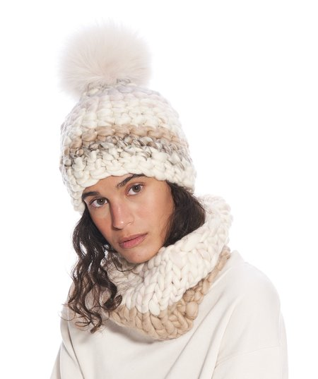 Mischa Lampert pale small snood - Brown/White