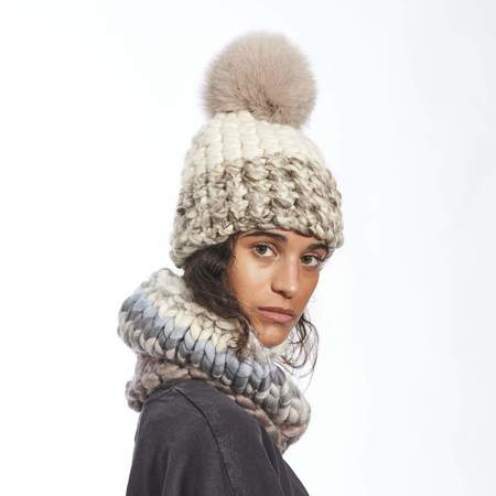 Mischa Lampert color block taupe marble beanie - White