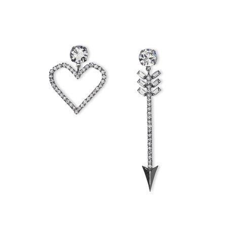 Joomi Lim Asymmetrical Crystal Cupid's Heart Earrings