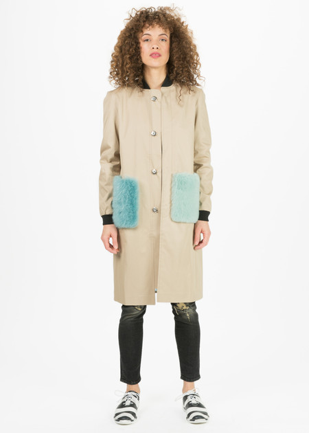 Anne Vest Coral Fur Pocket Coat