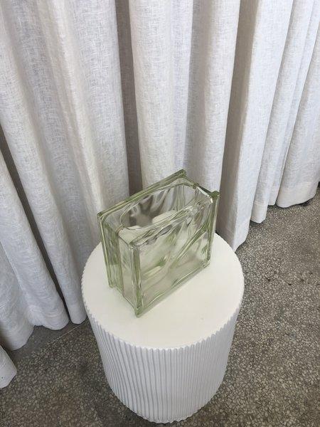 Vintage GLASS BLOCK VASE - GREEN