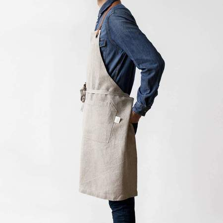 Linen Tales & Leather Luxury Apron  - Natural
