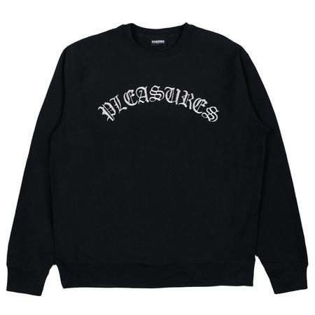 PLEASURES Old E Premium Crewneck SWEATER - Black