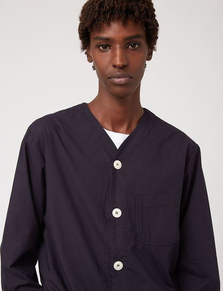 Bhode Railroad Italian Poplin Shirt - Navy Blue