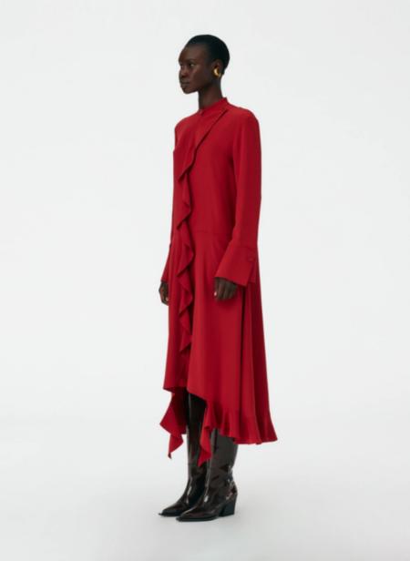 Tibi Silk Ruffle Shirtdress - Deep Red