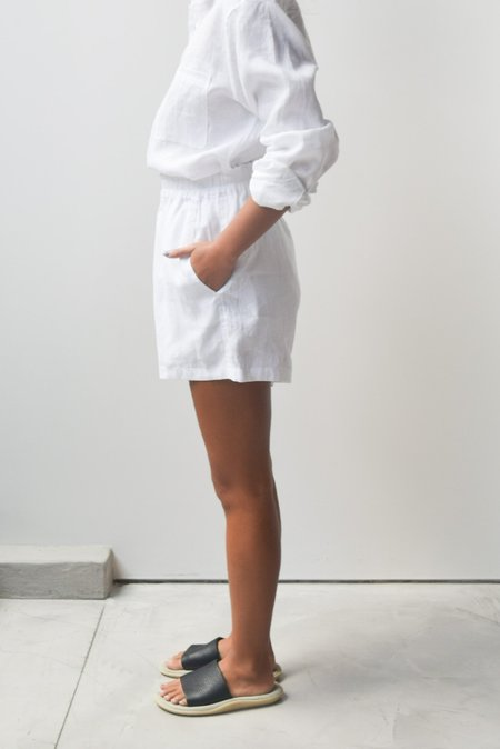 at Dawn. Linen Easy Shorts - White / Blue Surf / Black Ink