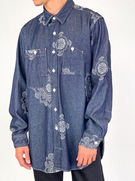 Engineered Garments WORK SHIRT -  INDIGO FLORAL