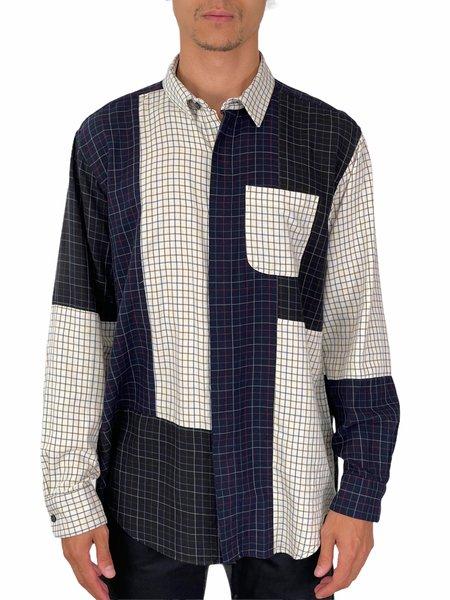 Engineered Garments COMBO SHORT COLLAR SHIRT -  Ivory Tattersall