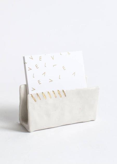 Unisex Amber E Lea White Porcelain Business Card Holder