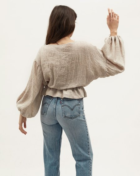 Dominique Healy Anna Frill Blouse - Oatmeal