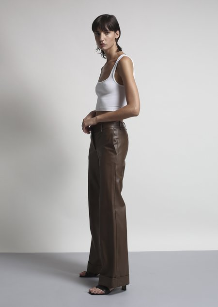 Aya Muse Charlie Vegan Leather Pant - Brown
