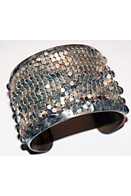 "7 on Locust Brass Cuff with Silver Mesh - 2"" Width"