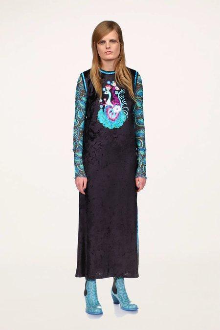 Anna Sui Peacock & Snake Velvet Sleeveless Dress - Turquoise Multi