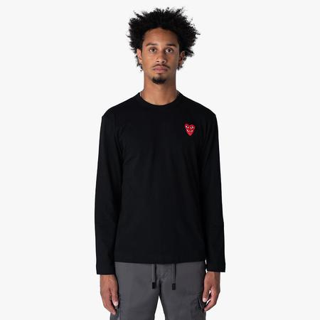Comme des Garcons Double Red Heart Long Sleeve T-shirt - Black